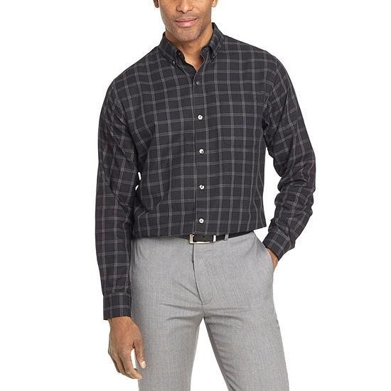 Van Heusen Mens Long Sleeve Striped Button-Front Shirt