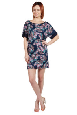 24Seven Comfort Apparel Taylor Blue Feather PrintMini Dress