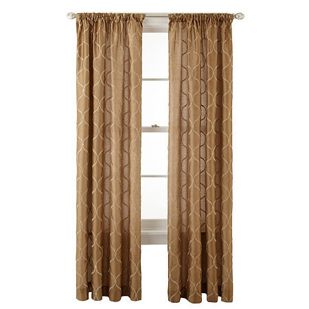 JCPenney Home Light-Filtering Rod-Pocket Single Curtain Panel, One Size , Yellow