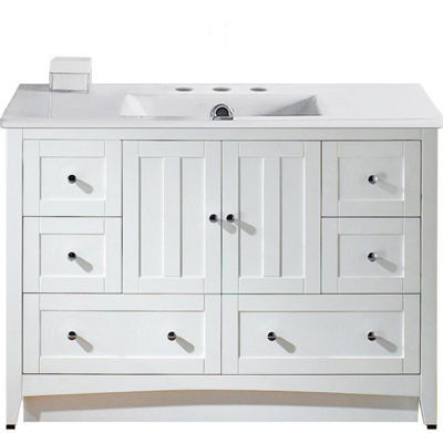 48-in. W Floor Mount White Vanity Set For 3H8-in.Drilling