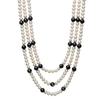 Womens Black Spinel Cultured Freshwater Pearl Sterling Silver Statement Necklace
