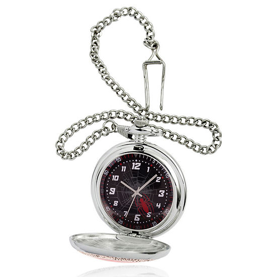 Marvel Spiderman Mens Silver Tone Pocket Watch-Wma000262