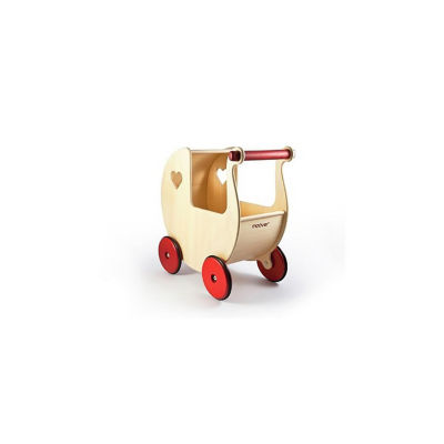 """Moover Doll Pram, Natural Wood - Fits Dolls up to 17"""" Tall"""