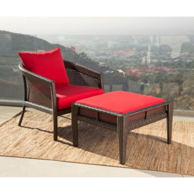 Athens Sunbrella Red Outdoor Wicker Chair And Ottoman Patio Set