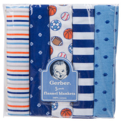 Gerber 5-pk. Baby Boy Blanket - Blue Sports