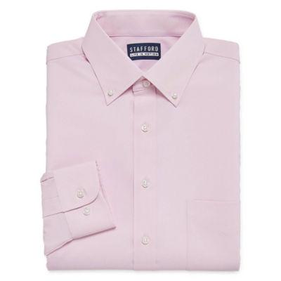 Stafford Poly Span Long Sleeve Woven Dress Shirt