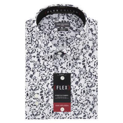 Van Heusen Flex Collar Extra Slim Fit Long Sleeve Twill Floral Dress Shirt - Super Slim