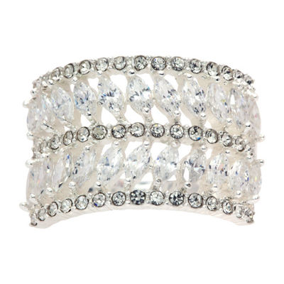 Sparkle Allure Clr Cz And Crystal Marq Stn Ring In Box Womens 1/2 CT. T.W. Lab Created Clear Pure Silver Over Brass Band