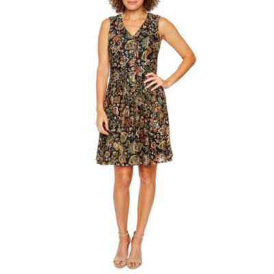 Be by CHETTA B Sleeveless Lace Floral Fit & Flare Dress