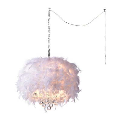 Warehouse Of Tiffany Iglesias Fluffy White Feathers and Crystal 3-light Pendant