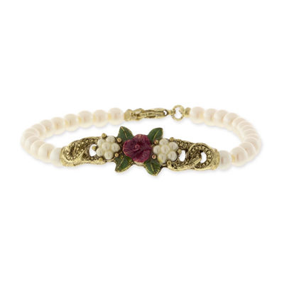 1928 Vintage Inspirations White Gold Tone Flower Beaded Bracelet