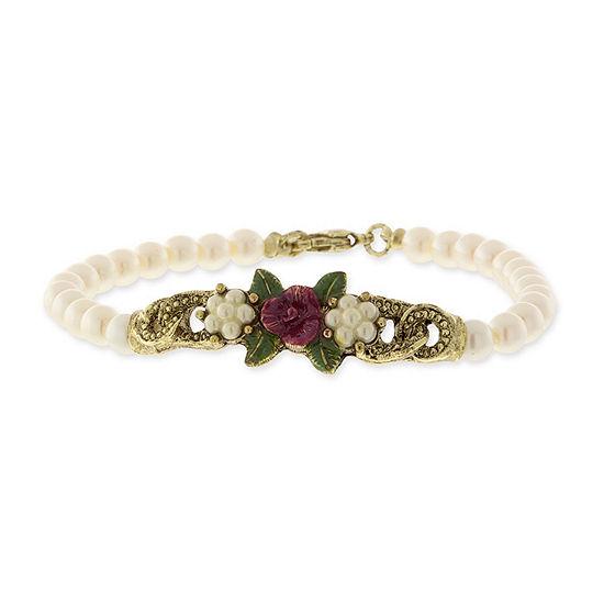 1928 Vintage Inspirations White 7 Inch Flower Beaded Bracelet