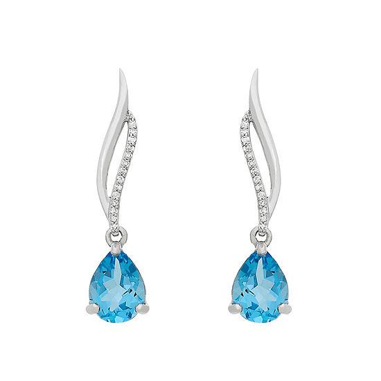 Womens Genuine Blue Topaz 10K White Gold Pendant Necklace