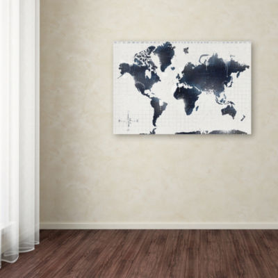 Trademark Fine Art ALI Chris World Map 12 Giclee Canvas Art