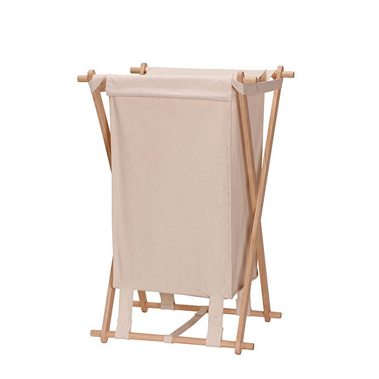 Household Essentials X-Frame Wood Laundry Hamper