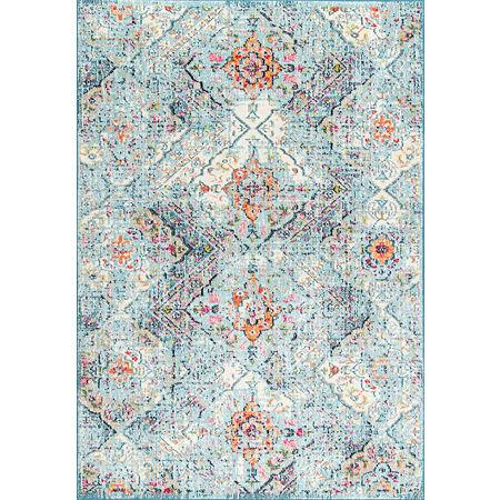 nuLoom Floral Tiles Gaddis Area Rug, One Size , Blue