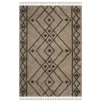 Safavieh Moroccan Fringe Shag Collection Anselmo Geometric Square Area Rug