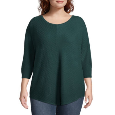 Boutique + Womens Scoop Neck 3/4 Sleeve Pullover Sweater-Plus