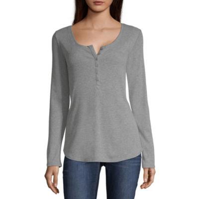 a.n.a-Womens Crew Neck Long Sleeve T-Shirt