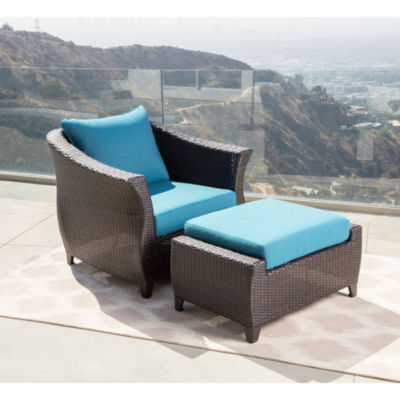 Brooklyn Sunbrella Blue Outdoor Wicker Chair And Ottoman Patio Set