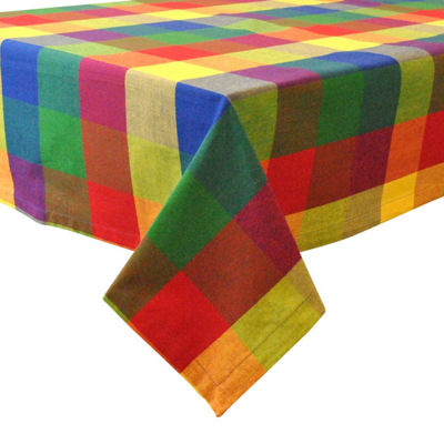 Design Imports Indian Summer Checked Tablecloth