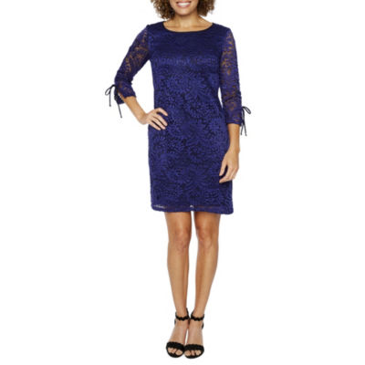 R & K Originals 3/4 Tie Sleeve Lace Shift Dress