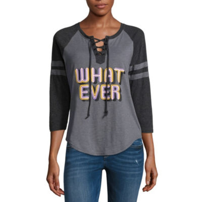 """Whatever"""" Lace Up Baseball Tee - Juniors"""