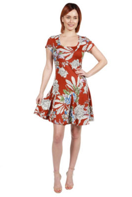 24Seven Comfort Apparel Lani Red Short Sleeve Dress