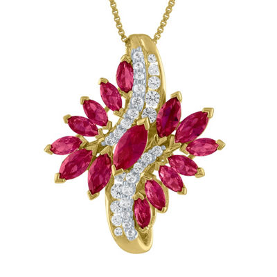 Womens Red Ruby Gold Over Silver Pendant Necklace