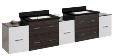 90-in. W Wall Mount White-Dawn Grey Vanity Set For3H8-in. Drilling Black Galaxy Top White UM Sink