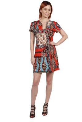 24Seven Comfort Apparel Cynthia Orange and Turquoise Mini Dress