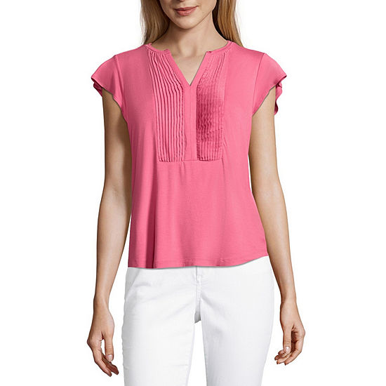 Liz Claiborne Flutter Sleeve Pleated Bib T-Shirt