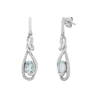 Genuine Blue Aquamarine 10K White Gold Drop Earrings