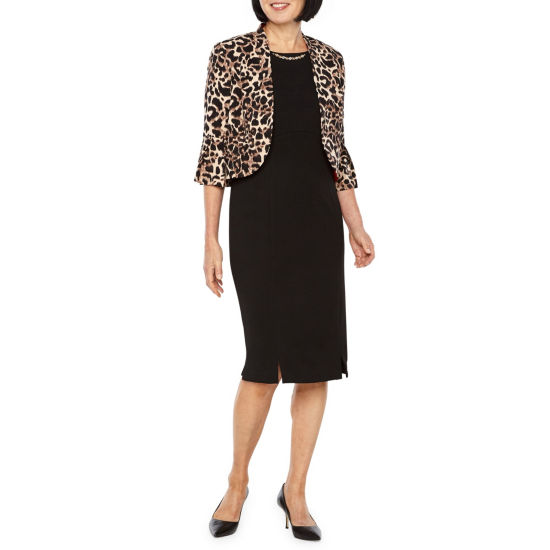 Maya Brooke 3/4 Sleeve Animal Print Jacket Dress