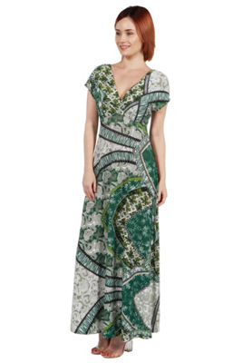 24Seven Comfort Apparel Lena Short Sleeve Green Print Empire Waist Maxi Dress