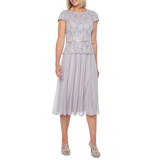 Jackie Jon Short Sleeve Embellished Evening Gown