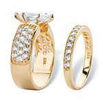 Diamonart Womens 3 CT. T.W. White Cubic Zirconia 14K Gold Over Silver Bridal Set