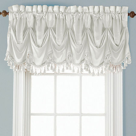 JCPenney Home Hilton Tuck Rod-Pocket Federal + Tuck Valance, One Size , White