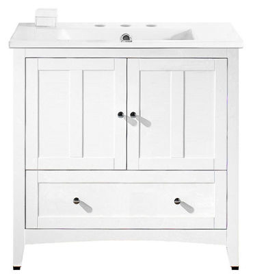 35.5-in. W Floor Mount White Vanity Set For 3H8-in. Drilling