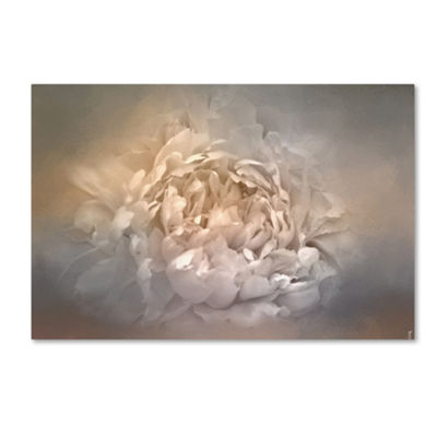 Trademark Fine Art Jai Johnson Blushing Silver AndGold Peony Giclee Canvas Art