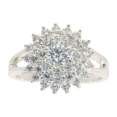 Sparkle Allure Womens 2 3/4 CT. T.W. White Cubic Zirconia Pure Silver Over Brass Cocktail Ring