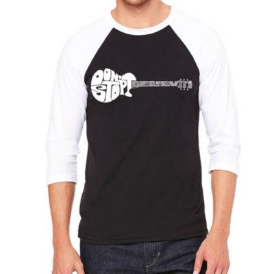 Los Angeles Pop Art Men's Raglan Baseball Word Art T-shirt - Don't Stop Believin