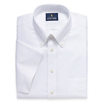 Stafford Mens Short Sleeve Wrinkle Free Oxford Button Down Collar Dress Shirt