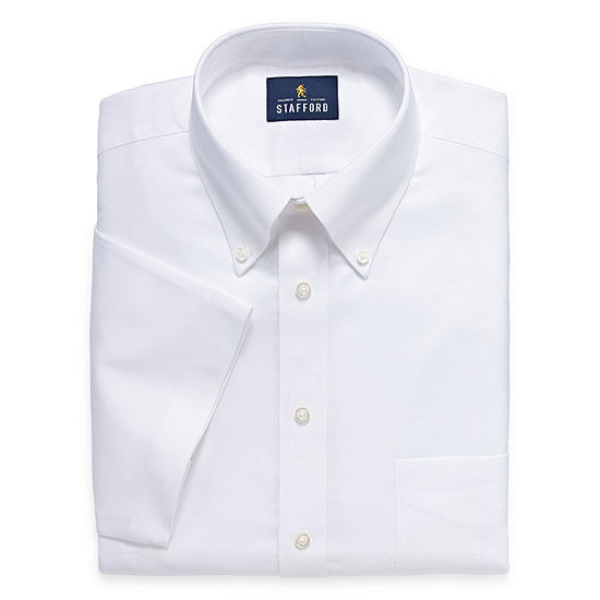 Stafford Mens Short Sleeve Wrinkle Free Oxford Button Down Collar Dress Shirt
