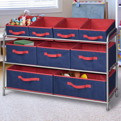Bintopia™ Deluxe Storage Rack with Fabric Bins - Blue/Red Trim