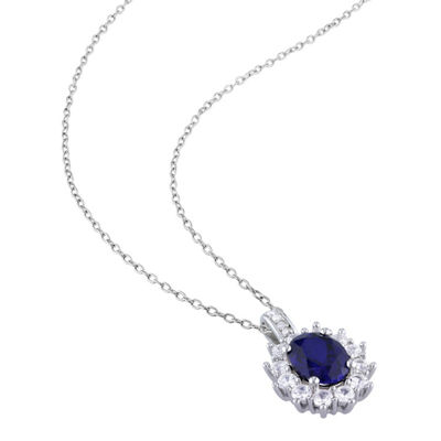 Womens Diamond Accent Lab Created Blue Sapphire Sterling Silver Pendant Necklace