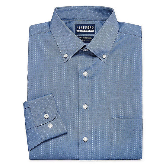 Stafford Poly Span Long Sleeve Woven Gingham Dress Shirt