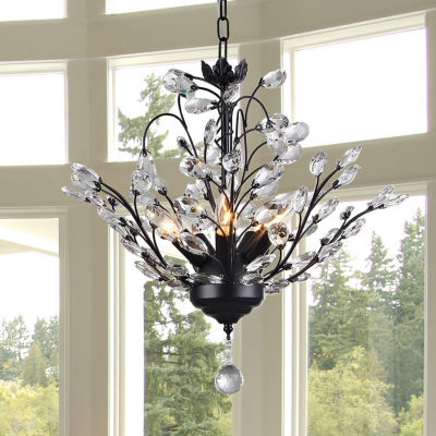 Warehouse Of Tiffany Aria 5-light Black 20-inch Crystal Leaves Chandelier
