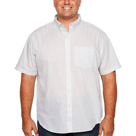 Van Heusen Big and Tall Wrinkle Free Button Down Shirt Mens Short Sleeve Checked Button-Front Shirt