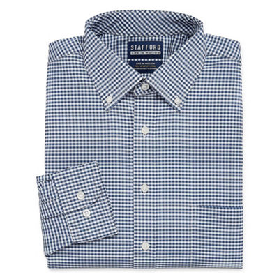 Stafford Poly Span Long Sleeve Woven Gingham Dress Shirt